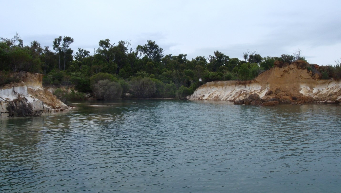 Figure 3. Breach point for the Collie River flowing into Lake Kepwari in August 2011.